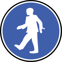 Download free blue round protection pedestrian icon