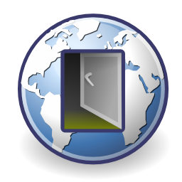 Download free internet earth network door icon