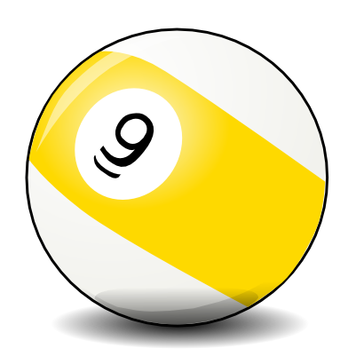 Download free yellow white billiard nine billiard ball icon