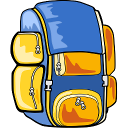 Download free yellow blue bag back backpack icon