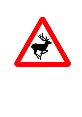 Download free red animal triangle attention deer icon