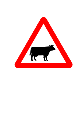 Download free red cow triangle icon