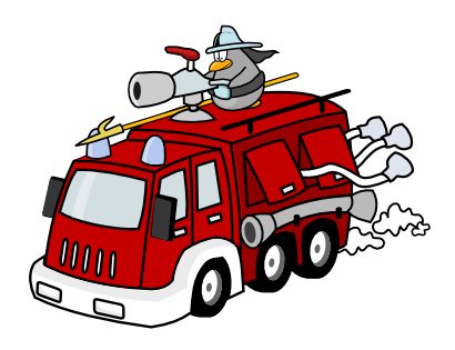 Download free firemen vehicle truck penguin icon