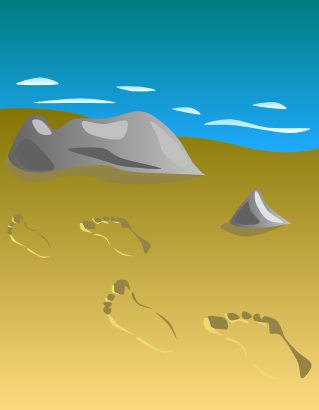 Download free rock beach sky sand footprint icon