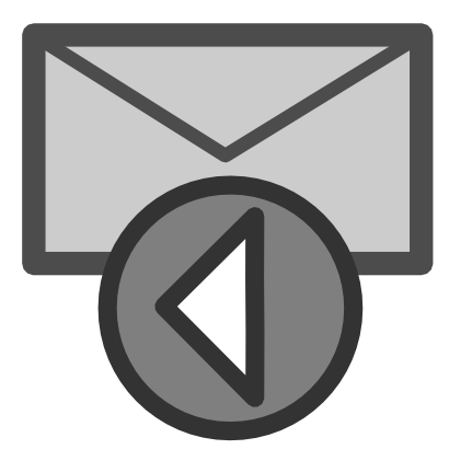 Download free letter grey round arrow left email courier mail icon