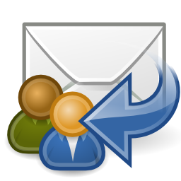 Download free blue arrow left email message courier mail answer everybody icon