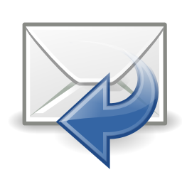 Download free blue arrow left mail answer send icon