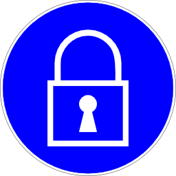 Download free blue round padlock pictogram icon