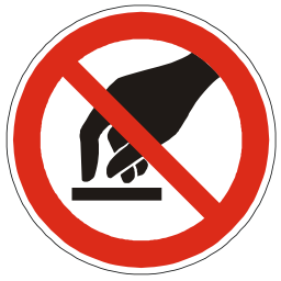 Download free red round pictogram hand prohibited touch icon