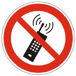 Download free red round pictogram phone prohibited mobile portable wave icon