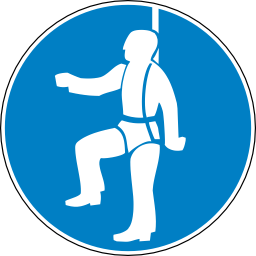 Download free blue round pictogram protection fall belt human icon