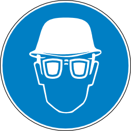 Download free helmet blue round pictogram protection head face lunette obligation icon