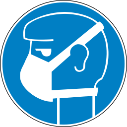 Download free blue round pictogram head mask gas face obligation icon