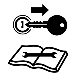Download free key book pictogram stop attention icon
