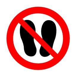 Download free red round pictogram foot prohibited walk shoe icon
