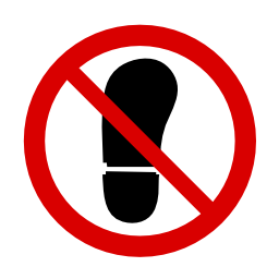 Download free red round pictogram prohibited walk shoe icon