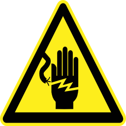 Download free pictogram hand electric triangle risk icon