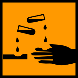 Download free orange pictogram hand square acid risk icon