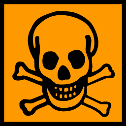 Download free orange pictogram square bone skull dead risk icon